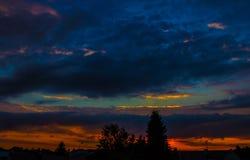 夜风景,以城市和树为背景在日落 自然 库存图片