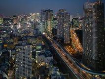 夜从世界贸易中心观测所的东京视图 库存图片