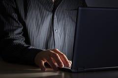 夜间互联网瘾或后工作 免版税库存图片