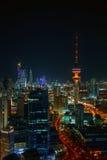 夜间在科威特市 库存照片