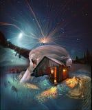 夜满天星斗的天空的月出 免版税库存图片