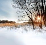 夜间山s日落ural冬天 免版税库存照片