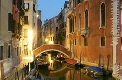夜间意大利威尼斯 免版税库存照片
