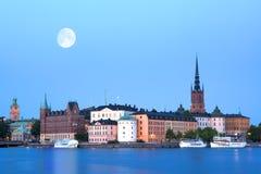 夜间斯德哥尔摩 库存图片