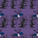 夜黑暗的树无缝的样式 免版税库存图片