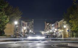 夜1870年9月20日街道在里米尼,意大利 库存照片