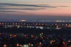 夜间横向海洋天空日落 免版税库存照片