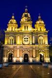 夜间的圣约瑟夫大教堂,北京 免版税库存照片