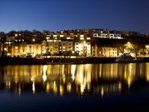 夜间的布里斯托尔船坞 免版税库存照片
