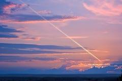 夜间线路天空 库存照片