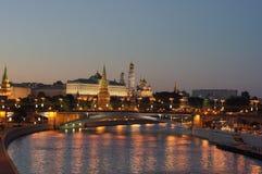 夜间莫斯科 库存照片