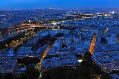 夜间巴黎 视图 库存照片
