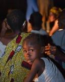 夜画象从侏儒村庄的女孩。 免版税库存照片