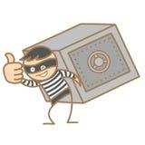 夜贼运载的钱箱 免版税库存图片