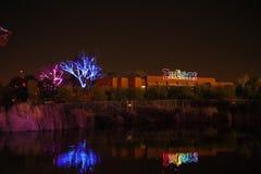 夜宴餐在一个动物学公园 Zoolight 免版税库存图片