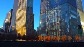 夜/New约克市的摩天大楼-美国 看法向曼哈顿下城2018年12月18日 库存图片