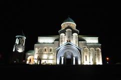 夜Bagrati大教堂在库塔伊西,乔治亚 免版税图库摄影