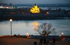 夜Fedorovsky堤防在下诺夫哥罗德 免版税库存照片