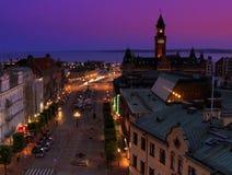 夜Helsinborg,瑞典全景  免版税库存图片