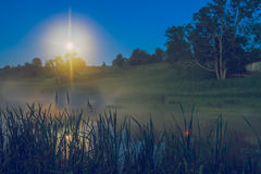夜ime在Araishi湖 库存照片