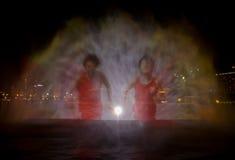 夜lazer展示在新加坡 库存图片