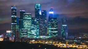 夜timelapse的,莫斯科,俄罗斯摩天大楼国际商业中心城市 股票录像