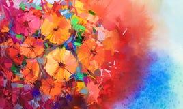大丁草花束开花的抽象油画 库存图片