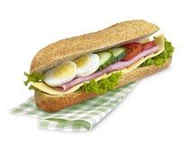 大三明治与裁减路线的火腿乳酪 免版税库存图片