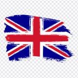 大不列颠及北爱尔兰联合王国,刷子冲程背景的旗子 在透明backgro的旗子大英国 向量例证