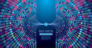 大与拷贝空间的数据未来派科学背景 库存例证