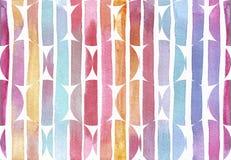 大与样式的光栅水平的无缝的例证由梯度红色,紫色和黄色条纹圈子做成 手拉与 库存照片