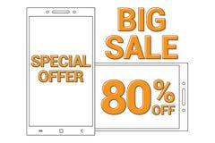 大与特殊的拍卖的线艺术智能手机的销售增进横幅背景提供80%  皇族释放例证