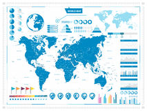 大世界地图和infograpchic元素 免版税库存照片