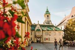 大主教宫殿, Primacialne namestie大主教正方形和Bratis 免版税库存照片