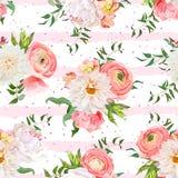 大丽花,毛茛属,玫瑰色和牡丹无缝的传染媒介样式 免版税库存照片