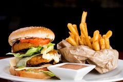 大乳酪汉堡和油炸物 免版税库存图片