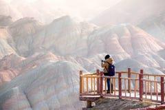 大五颜六色的山在中国 免版税库存照片