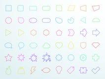大五颜六色的普通概述象形状被设置的传染媒介 库存图片