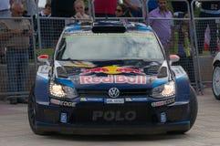 大众波罗R WRC在萨洛角,西班牙 免版税库存图片