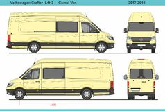 大众Crafter Combi范L4H3 2017-2018 皇族释放例证