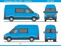 大众Crafter Combi范L2H3 2017-2018 向量例证