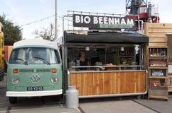 大众t1卖火腿的食物卡车在阿姆斯特丹 免版税库存图片