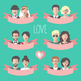 大传染媒介套与平的丝带、心脏、男孩和女孩的浪漫华伦泰卡片 爱拟订与夫妇的汇集 免版税库存照片