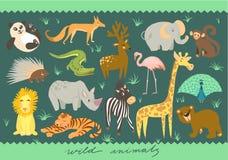 大传染媒介套动物的例证 动物园逗人喜爱的动物 免版税库存图片