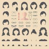 大传染媒介套平装饰用不同的妇女理发、玻璃,嘴唇等的建设者 女性面对象创作者 库存例证