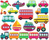 大传染媒介套逗人喜爱的运输车 免版税库存图片
