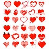 大传染媒介集合、心脏和爱 免版税库存照片