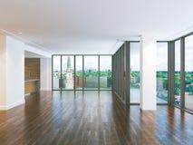 大内部客厅和当代厨房 3d回报 图库摄影