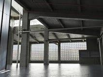 大内部难看的东西构筑了有一个空的地板的仓库 库存照片