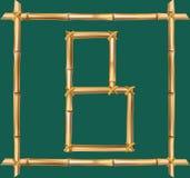 大写字母B做了现实棕色干燥竹杆里面木棍子框架 库存例证
